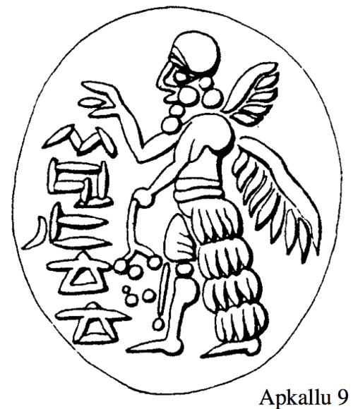 "Apkallu type 1, Illustration 9, Stephanie Dalley, IDD. Dalley compares this seal portrayed as illustration 9 with illustration 8 above, as ""another West Semitic (or rather South Semitic) seal with this type of apkallu standing alone."" For me, the indistinct head gear stands out, as does the portrayal of the poppy bulbs in the left hand."