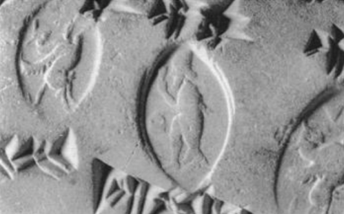From Ronald Wallenfels, Apkallu-Sealings from Hellenistic Uruk, 1993.  Seal number 3. A fish-apkallu, a paradu-fish apkallu, depicted on a personal seal.  https://www.academia.edu/1368825/Apkallu-Sealings_from_Hellenistic_Uruk