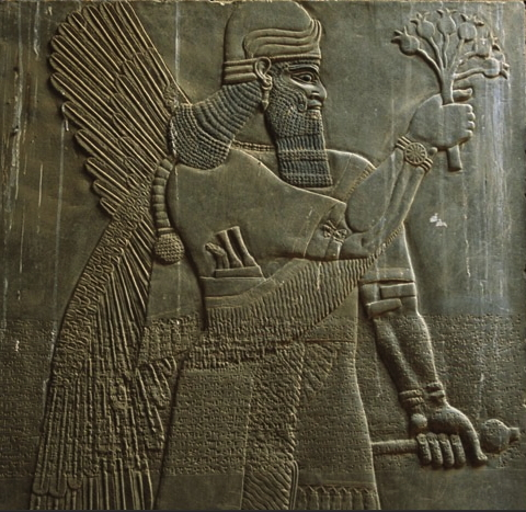 This umu-apkallu wears a three-horned headdress indicative of divinity, raises poppy bulbs in his right hand, and holds a mace in his left. He has four wings.<br /> Daggers and ornate whetstone are tucked into his waistband, he wears armlets, and the fine detail preserved in this bas relief is highlighted by the right-armed sleeve of his upper garment. <br />  Ada Cohen &amp; Steven E. Kangas, eds., Assyrian Reliefs from the Palace of Ashurnasirpal II: A Cultural Biography, UPNE, 2010, p. 6.<br />  https://books.google.co.th/books?id=uRKU0YXBWtgC&amp;pg=PA252&amp;lpg=PA252&amp;dq=D.+Kolbe+Die+Reliefprogramme+full+text&amp;source=bl&amp;ots=c4EZtivZGc&amp;sig=2MJlM039UK3pZ0ituhzBzLBys4M&amp;hl=en&amp;sa=X&amp;ved=0CCoQ6AEwBWoVChMIipCB8K--xwIVDlqOCh2O_wYD#v=onepage&amp;q&amp;f=false