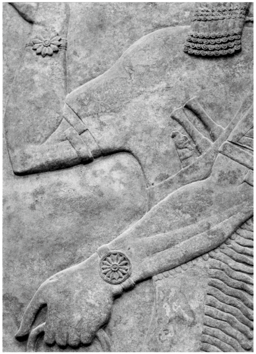 This detail of an umu-apkallu from Panel 12, Room G, Northwest Palace of Ashurnasirpal II at Nimrud focuses on the rosette design of his bracelets. Note that in this example the bracelets are not matching. In the upper version, the rosette is mounted on a bracelet with no border. On the example below, the rosette design is circled by a border. The number of petals on the design varies, as well, with eleven petals above and 13 below, by my count. Armlets at the elbow are clearly visible, as is the fine detailing on the whetstone and the dual daggers in the waistband. London, British Museum, ANE 124568. From Mehmet-Ali Atac, The Mythology of Kingship in Neo-Assyrian Art, Cambridge University Press, 2010, p. 109. Photograph by Professor Atac.