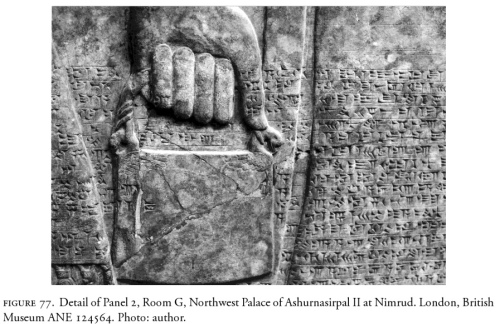 This detailed portrayal of the banduddu bucket is from the Palace of Ashurnasirpal II at Nimrud.  British Museum ANE 124564. Photograph by Mehmet-Ali Atac, The Mythology of Kingship in Neo-Assyrian Art, Cambridge University Press, 2010, p. 100.