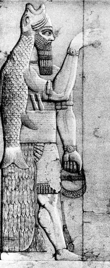 A fish-apkallu drawn by A.H. Layard from a stone relief, one of a pair flanking a doorway in the Temple of Ninurta at Kalhu.  This example is identical to illustration 55 in Dalley's article on the apkallu, which she cites for the dual daggers in his waistband.  British Museum. 