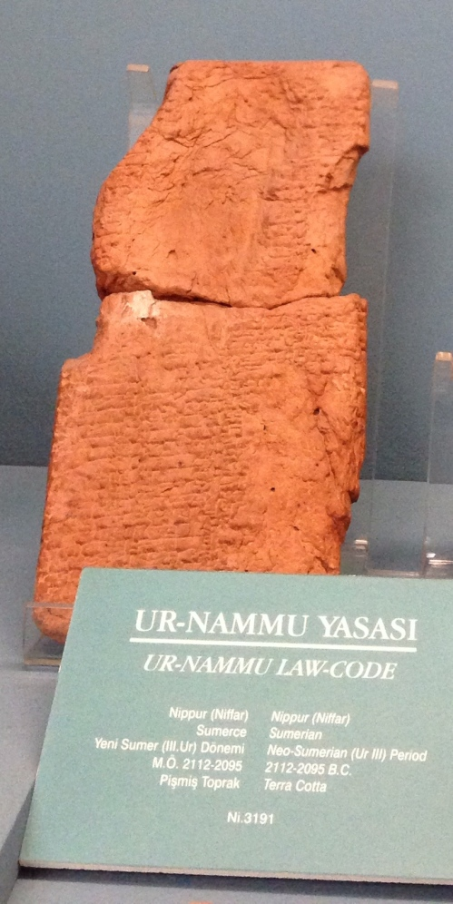 """In all probability I would have missed the Ur-Nammu tablet altogether had it not been for an opportune letter from F. R. Kraus, now Professor of Cuneiform Studies at the University of Leiden in Holland...  His letter said that some years ago, in the course of his duties as curator in the Istanbul Museum, he had come upon two fragments of a tablet inscribed with Sumerian laws, had made a ""join"" of the two pieces, and had catalogued the resulting tablet as No. 3191 of the Nippur collection of the Museum...  Since Sumerian law tablets are extremely rare, I had No. 3191 brought to my working table at once. There it lay, a sun-baked tablet, light brown in color, 20 by 10 centimeters in size. More than half of the writing was destroyed, and what was preserved seemed at first hopelessly unintelligible. But after several days of concentrated study, its contents began to become clear and take shape, and I realized with no little excitement that what I held in my hand was a copy of the oldest law code as yet known to man."" 