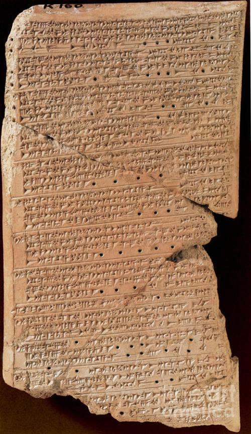 "Venus Tablet Of Ammisaduqa, 7th Century The Venus Tablet of Ammisaduqa (Enuma Anu Enlil Tablet 63) refers to a record of astronomical observations of Venus, as preserved in numerous cuneiform tablets dating from the first millennium BC. This astronomical record was first compiled during the reign of King Ammisaduqa (or Ammizaduga), with the text dated to the mid-seventh century BCE.  The tablet recorded the rise times of Venus and its first and last visibility on the horizon before or after sunrise and sunset in the form of lunar dates. Recorded for a period of 21 years, this Venus tablet is part of Enuma anu enlil (""In the days of Anu and Enlil""), a long text dealing with Babylonian astrology, which mostly consists of omens interpreting celestial phenomena. http://fineartamerica.com/featured/2-venus-tablet-of-ammisaduqa-7th-century-science-source.html"