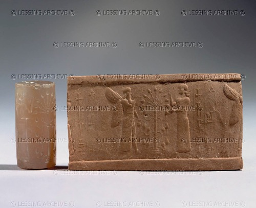 (Click to zoom in)<br />  On the imprint from this chalcedony cylinder seal dated to the 9th Century BCE, an umu-apkallu, an ummanu, winged with mullilu and banduddu bucket, blesses (or pollinates) the sacred tree with an undefined female figure.<br />  Note that this more or less symmetrical rendition of the sacred tree is mounted on a pedestal with bulbs that resemble cones.<br />  Cylinder seal and imprint: Cult of the sacred tree. Chalcedony,<br />  H: 3,2 cm<br />  Louvre: AO 22348