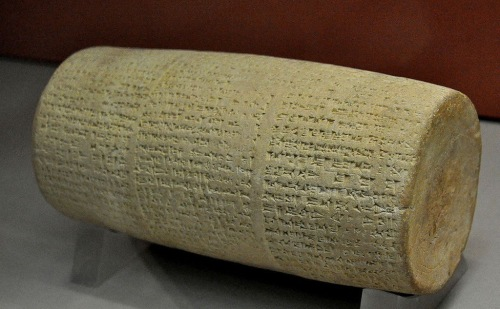 Cylinder of Nabonidus, Temple of Shamash at Larsa. This terra-cotta cylinder records the renovations by king Nabonidus of the Temple of the Sun god Shamash at Larsa.  Neo-Babylonian Period, 555 BCE - 539 BCE.  Held at the British Museum, London.  https://commons.wikimedia.org/wiki/File:Cylinder_of_Nabonidus_from_the_temple_of_Shamash_at_Larsa,_Mesopotamia..JPG