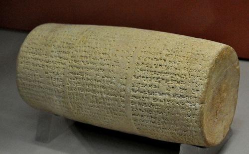 Cylinder of Nabonidus, Temple of Shamash at Larsa. This terra-cotta cylinder records the renovations by king Nabonidus of the Temple of the Sun god Shamash at Larsa.  Neo-Babylonian Period, 555 BCE - 539 BCE.  Held at the British Museum, London.  https://commons.wikimedia.org/wiki/File:Cylinder_of_Nabonidus_from_the_temple_of_Shamash_at_Larsa,_Mesopotamia..JPG