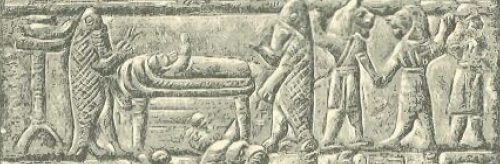 "Detail from a drawing of a bronze plaque held in the Louvre.  Puradu-fish apkallu minister to an ill patient in bed. The lamp of Nusku is depicted at far left, and ugallu attack with upraised fists in concert with Lulal, identified by Wiggerman as ""a minor apotropaic god."" I believe that this plaque portrays an exorcism.  Drawn by Faucher-Gudin, from a bronze plaque of which an engraving was published by Clermont-Ganneau.  The original, which belonged to M. Péretié, is now in the collection of M. de Clercq. http://www.gutenberg.org/files/17323/17323-h/17323-h.htm#linkBimage-0039"