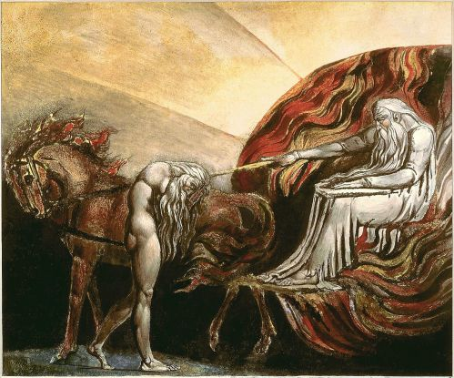 William Blake (1757-1827 AD), God Judging Adam, 1795 AD.  Currently held at the Tate Gallery, generous gift of W. Graham Robertson, 1939.  Also held by the William Blake Archive.  This work is in the public domain in the United States, and those countries with a copyright term of life of the author plus 100 years or less. http://www.blakearchive.org/exist/blake/archive/object.xq?objectid=but294.1.cprint.01&vg=cpd&vcontext=cpd&java=no