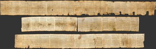 This is a photograph of the Great Isaiah Scroll, from the biblical scrolls recovered from Qumran.  It contains the entire known Book of Isaiah in Hebrew, probably written by an Essene scribe circa 2d century BCE.  The Israel Museum. Photo by Ardon Bar Hama. The original author, and the identity of the scribe, is not known.  This work is in the public domain in the US and those countries where a copyright term of 100 years plus the life of the author prevails.
