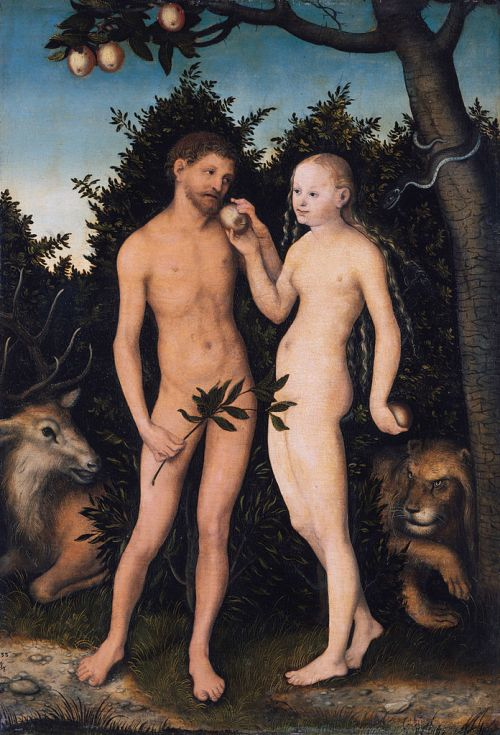 Lucas Cranach the Elder (1472-1553 AD), Adam und Eva im Paradies (Sündenfall), Adam and Eve in Paradise (The Fall), 1533 AD.  Held at the Gemäldegalerie, Berlin.  This work is in the public domain in the United States, and those countries with a copyright term of life of the author plus 100 years or less. https://commons.wikimedia.org/wiki/File:Lucas_Cranach_the_Elder_-_Adam_und_Eva_im_Paradies_(Sündenfall)_-_Google_Art_Project.jpg