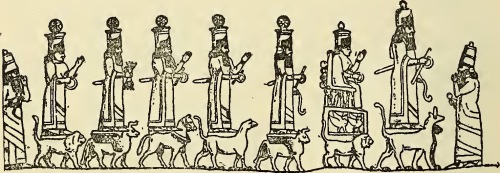 "This is one of the few representations of a Mesopotamian pantheon that I have seen, allegedly adapted from a rock relief at Malatia (Anti-Taurus range).<br />  From Professor Morris Jastrow's Aspects of Religious Belief and Practice in Babylonia and Assyria, G.P. Putnam's & Sons, 1911.<br />  https://archive.org/details/aspectsofreligio00jast<br />  http://wisdomlib.org/mesopotamian/book/myths-and-legends-of-babylonia-and-assyria/d/doc7167.html<br />  Another version of this pantheon observes that Aššur is at the head of the procession, standing on two animals, including a snake-dragon or muššuššu. The rod and ring of sovereignty are in his right hand. I am not sure what he holds in his left hand.<br />  Ištar (of Nineveh) is depicted seated on a throne, carried as usual by a lion, her sacred animal. She carries what Black and Green term a ""chaplet,"" a ring of temporal authority. The objects on the rear of her throne evoke her common depiction with maces and weaponry, appropriate for a goddess of love and war. Her throne is supported by indistinct figures of the Mesopotamian pandemonium. Winged scorpion-men, perhaps.<br />  The third figure from right to left is said to be Sin, the Moon-god, mounted upon a winged bull. Like Aššur, he holds an object which could be the horn from a bull in his left hand, and the rod and ring of temporal sovereignty in his right.<br />  The fourth figure from the right is believed to be Enlil or Marduk, like Aššur standing on a Muššuššu dragon. While this figure's left hand is empty, raised in the gesture of greeting, he holds the rod and ring in his right hand.<br />  The next figure is said to be Shamash, (or Šamaš), the sun god, mounted on a horse. He holds the rod and ring in his right hand, and greets with his left hand.<br />  Adad is second from the left, with lighting bolts in his hands. Adad stands on a pair of winged bulls.<br />  The final figure is believed to be a depiction of Ištar on a lion, either Ištar of Arbela or Ištar of Babylon.<br />  See Place, Ninive et VAssyrie, Pl. 45, from which it would appear that the design was repeated three times on the monument.<br />  See also Luschan, Ausgrabungen in Sendschirli , p. 23 seq.<br />  For another procession of gods (on an alabaster slab found at Nimroud) see Layard, Monuments of Nineveh, i., Pl. 65.<br />  http://www.wisdomlib.org/mesopotamian/book/aspects-of-religious-belief-and-practice-in-babylonia-and-assyria/d/doc7258.html<br />  Finally, Jeremy Black and Anthony Green observe, ""The best preserved of four similar panels of rock reliefs at Maltai, carved on the cliff face on the southern side of the Dehok valley, by the road leading from Assyria to the Upper Zab valley. (This reads as though Black & Green had actually visited the site).<br />  Black and Green note that an Assyrian king, ""probably Sennacherib (704-681 BCE),"" flanks the seven depicted deities.<br />  The version in Black and Green is reversed, with the procession facing to the left. From left to right, Black and Green identify Aššur on Muššuššu, followed by ""his consort Mullisu enthroned on a lion,"" Enlil or Sin on a lion-dragon, Nabu on a snake-dragon, Šamaš on a horse, Adad with lightening bolts, and Ištar on a lion.<br />  Jeremy Black and Anthony Green, Gods, Demons and Symbols of Ancient Mesopotamia, 1992, p. 40.<br />  https://books.google.co.th/books?id=pr8-i1iFnIQC&redir_esc=y<br />  Anthony Green updated these comments in 1994 in Michwesen. B. ""The best preserved of four similar panels of rock reliefs at Maltai, carved on the cliff face on the southern side of the Dehok valley, by the road from Assyria to the upper Zab valley. The Assyrian king, probably Sennacherib, flanks a procession of seven deities upon their animals. After F. Thureau-Dangin, Les Sculptures Rupestres de Maltai, RA 21 (1924), p. 187. For the beasts, cf. U. Seidl, RIA III s.v. ""Gottersymbole und -attribute.""<br />  Anthony Green, Mischwesen. B, 1994, p. 263.<br />  https://www.academia.edu/2378476/Mischwesen_B._A.Green_"