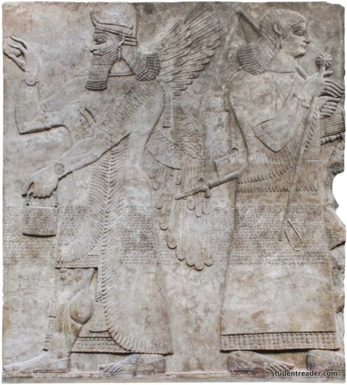 An umu-apkallu at far left, with horned tiara indicative of divinity. The mullilu cone and banduddu bucket are in their customary places, rosette bracelets are displayed, and this ummanu is winged.<br />  This frieze is unusual for the fine detail lavished on the fringe and tassels of the garments. The sandals are portrayed with uncommon precision. <br />  On the right side, an ambiguous figure, perhaps a lesser order of ummanu, a specialist sage in service to the king. Beardless, the figure could be a eunuch, raising a royal mace or scepter surmounted with a rosette in its right hand. Could this be a woman at court? The facial characteristics are intriguing, the figure appears to wear a long fringed skirt rather than the robe portrayed on the apkallu at left, and appears to bear both a sword and a bow with a quiver of arrows. Perhaps this is the arms bearer of the king, holding the royal scepter for his convenience.<br />  From the Northwest Palace at Nimrud, in the collection of the British Museum.<br />  BM 6642.