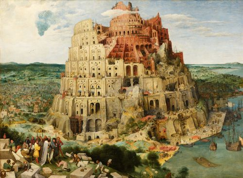 Click to zoom. Pieter Brueghel the Elder (1526/1530-1569), The Tower of Babel, 1563, held at the Kunsthistorisches Museum.<br /> This work is in the public domain in the United States and those countries with a copyright term of life of the author plus 100 years or less. This file has been identified as being free of known restrictions under copyright law, including all related and neighboring rights.<br /> https://commons.wikimedia.org/wiki/File:Pieter_Bruegel_the_Elder_-_The_Tower_of_Babel_(Vienna)_-_Google_Art_Project_-_edited.jpg