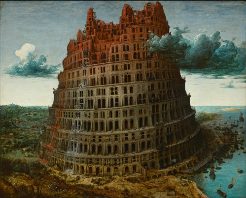 "Pieter Brueghel the Elder (1526/1530-1569), The Tower of Babel (circa 1563-1565, oil on panel, Museum Bojimans Van Beuningen, Room 06, Rotterdam. Accession number 2443 (OK). Bequeathed to the Museum Bojimans Van Beuningen by Daniël George van Beuningen. Brueghel painted three versions of the Tower of Babel. This one is in the collection of the Museum Bojimans Van Beuningen in Rotterdam. A second version is in the collection of the Kunsthistorisches Museum in Vienna. A third version, a miniature on ivory, is apparently held by a private collector. Its disposition is unknown.  The official position taken by the Wikimedia Foundation is that ""faithful reproductions of two-dimensional public domain works of art are public domain"". https://commons.wikimedia.org/wiki/File:Pieter_Bruegel_the_Elder_-_The_Tower_of_Babel_(Rotterdam)_-_Google_Art_Project.jpg"