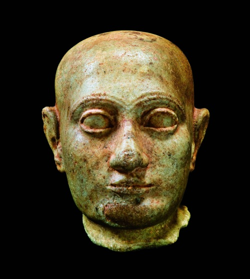 A stone bust of the King Šulgi (2094 BCE - 2047 BCE), possibly recovered from the ruins of Tello, ancient Girsu.  Third dynasty of Ur 2120 BCE.  Colecciones Burzaco © Jose Latova.  http://press.lacaixa.es/socialprojects/photo.html?noticia=17853&imagen=14
