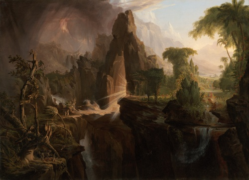 Click to zoom.  Thomas Cole (1801-48), Expulsion from the Garden of Eden, 1828. Held by the Waleska Evans James Gallery 236, generous gift of Martha C. Karolin for the M. and M. Karolin Collection of American Paintings, 1815-1865 AD. http://www.mfa.org/collections/object/expulsion-from-the-garden-of-eden-33060