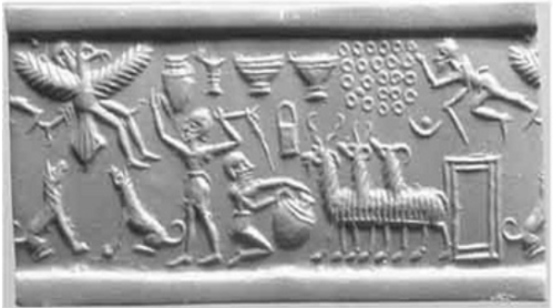 This seal appears to portray the translation of King Etana at upper left. I am not sure where this seal is held. If you can assist, please do.