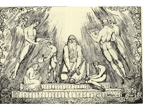 William Blake, Enoch, lithograph, 1807 (four known copies). William Blake's only known lithograph illustrating Genesis 5:24,