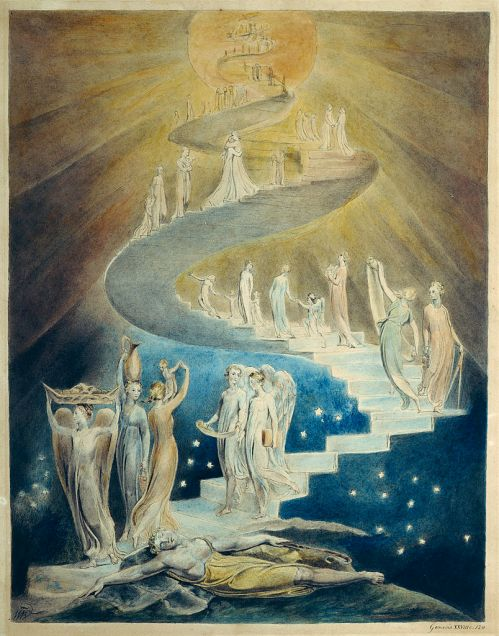 William Blake, Jacob's Dream, c. 1805 AD. Currently held at the British Museum, London. Commissioned and acquired from William Blake by Thomas Butts. Also available at the William Blake Archive. This work is in the public domain in the United States, and those countries with a copyright term of life of the author plus 100 years or less. https://commons.wikimedia.org/wiki/File:Blake_jacobsladder.jpg