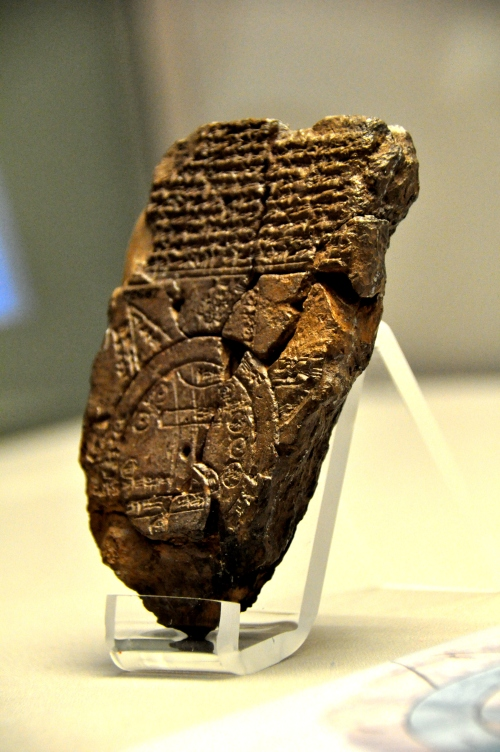 "This cuneiform inscription and map of the Mesopotamian world depicts Babylon in the center, ringed by a global ocean termed the ""salt sea."" The map portrays eight regions, though portions are missing, while the text describes the regions, and the mythological creatures and legendary heroes that live in them. Sippar, Babylonia, 700 - 500 BCE. Photo by Osama Shukir Muhammed Amin. Licensed under the Creative Commons: Attribution-NonCommercial-ShareaAlike license.  http://www.ancient.eu/image/2287/"
