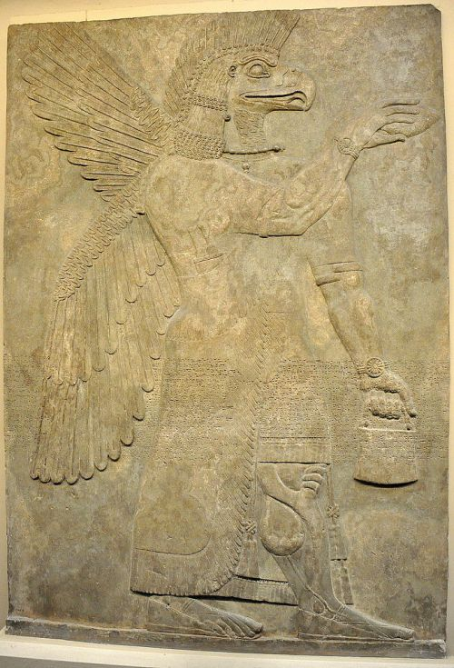 Wall relief depicting a winged and eagle-headed Apkallu (Sage). This protective spirit holds a cone and a bucket for religious ceremonial purposes. From the North-West Palace of Ashurnasirpal II at Nimrud (Biblical Calah; ancient Kalhu), modern day Ninawa Governorate, Iraq (Mesopotamia). Neo-Assyrian period, 865-850 BCE. The British Museum, London. Photo by Osama Shukir Muhammed Amin. This file is licensed under the Creative Commons Attribution-Share Alike 4.0 International license. https://commons.wikimedia.org/wiki/File:Wall_relief_depicting_an_eagle-headed_and_winged_man,_Apkallu,_from_Nimrud..JPG
