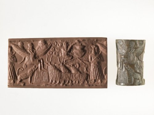 BM 89767, Limestone cylinder seal illustrating the myth of Etana, shepherd and legendary king of Kish, who was translated to heaven by an eagle to obtain the plant of life.  This seal portrays Etana's ascent, witnessed by a shepherd, a dog, goats and sheep. Dated 2250 BCE, this seal was excavated by Hormuz Rassam, and came from an old, previously unregistered collection acquired before 1884.  Dominique Collon, Catalogue of the Western Asiatic Seals in the British Museum: Cylinder Seals II: Akkadian, Post-Akkadian, Ur III Periods, II, London, British Museum Press, 1982.  R.M. Boehner, Die Entwicklung der Glyptic wahrend der Akkad-Zeit, 4, Berlin, 1965.  Alfred Jeremias, Das Alte Testament im Lichte des Alten Orients: Handbuch zur biblisch-orientalischen Altertumskunde, Leipzig, JC Hinrichs, 1906.  Also AN128085001, 1983, 0101.299.  This image is released under a Creative Commons Attribution-NonCommercial-ShareAlike 4.0 International (CC BY-NC-SA 4.0) license.  © The Trustees of the British Museum. http://www.britishmuseum.org/research/collection_online/collection_object_details/collection_image_gallery.aspx?partid=1&assetid=128085001&objectid=368707
