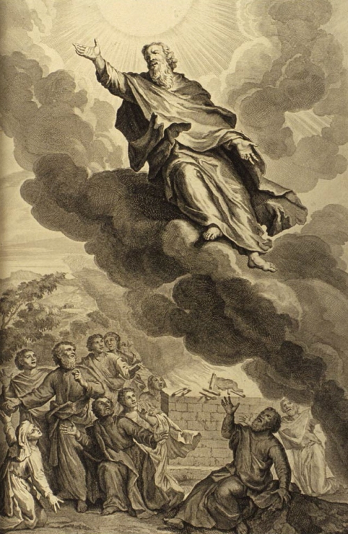 "Gerard Hoet (1648-1733 CE), Illustrators of the Figures de la Bible, P. de Hondt, The Hague, 1728 CE. God took Enoch, as in Genesis 5:24: ""And Enoch walked with God: and he was not; for God took him."" (KJV) illustration from the 1728 Figures de la Bible; illustrated by Gerard Hoet (1648–1733) and others, and published by P. de Hondt in The Hague; image courtesy Bizzell Bible Collection, University of Oklahoma Libraries. This work is in the public domain in its country of origin and other countries and areas where the copyright term is the author's life plus 70 years or less. https://commons.wikimedia.org/wiki/File:Figures_God_took_Enoch.jpg"