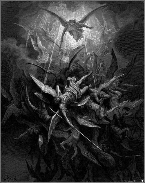 Paul Gustave Doré (1832-1883 CE), Michael Casts out all of the Fallen Angels, Illustration for Milton's Paradise Lost, 1866.<br />  This is a faithful photographic reproduction of a two-dimensional, public domain work of art. The work of art itself is in the public domain for the following reason:<br />  This work is in the public domain in its country of origin and other countries and areas where the copyright term is the author's life plus 100 years or less. <br /> https://commons.wikimedia.org/wiki/Gustave_Doré