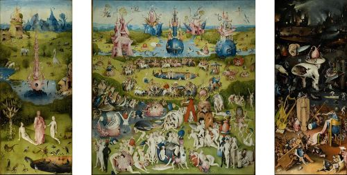 Hieronymus Bosch, The Garden of Earthly Delights, 1480-1505 CE, the complete triptych. It is in the collection of the Museo del Prado, Madrid.  https://commons.wikimedia.org/wiki/File:Jheronimus_Bosch_023.jpg This work is in the public domain in the United States and those countries with a copyright term of life of the author plus 100 years or less.