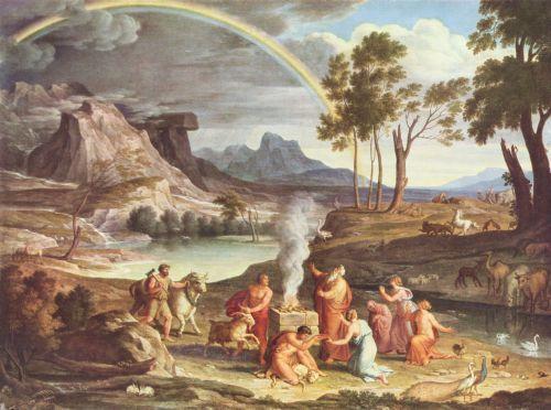 Joseph Anton Koch (1768-1839 CE), Landschaft mit Dankopfer Noahs, 1803. Copyright 2010 Stäfel Museum. http://www.altertuemliches.at/termine/ausstellung/die-chronologie-der-bilder-staedel-werke-vom-14-bis-21-jahrhundert