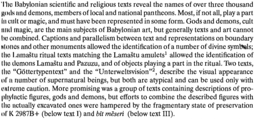 An excerpt from the introduction to F.A.M. Wiggermann's Mesopotamian Protective Spirits: The Ritual Texts, 1992, p. xi.
