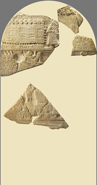 Reconstitution of the victory stele of the king Eannatum of Lagash over Umma, called «Stele of Vultures». Historical side. Limestone, circa 2450 BC, Sumerian archaic dynasties. Found in 1881 in Girsu (now Tello, Iraq), Mesopotamia, by Édouard de Sarzec. AO 16 IO9, AO 50, AO 2246 and AO 2348 (for the whole stele) https://commons.wikimedia.org/wiki/Category:Stele_of_the_Vultures#/media/File:Stele_of_Vultures_historical_side.jpg Eric Gaba (User:Sting), July 2005. Any use of this photograph can be made as long as you credit me (Eric Gaba – Wikimedia Commons user: Sting) as the author and distribute the copies and derivative works under the same license(s) that the one(s) stated below. A message with a reply address would also be greatly appreciated. Permission is granted to copy, distribute and/or modify this document under the terms of the GNU Free Documentation License, Version 1.2 or any later version published by the Free Software Foundation; with no Invariant Sections, no Front-Cover Texts, and no Back-Cover Texts. A copy of the license is included in the section entitled GNU Free Documentation License.
