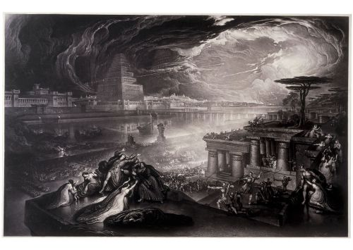 The Fall of Babylon, John Martin, 1831 CE.  http://www.britishmuseum.org/explore/highlights/highlight_objects/pd/j/john_martin,_the_fall_of_babyl.aspx John Martin (1789-1854 CE) first exhibited his painting The Fall of Babylon at the British Institution in 1819. He later supervised mezzotint reproductions, hence the date 1831 CE for this print.  Held by the British Museum.  This image is included under the terms of the Creative Commons Attribution-NonCommercial-ShareAlike 4.0 International (CC BY-NC-SA 4.0) license.