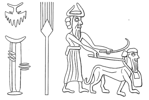 This illustration of a god walking his human-headed lion lacks the wings on the lion mentioned in Watanabe's example. A detail from a cylinder seal of the Akkadian period, this exemplar is from Jeremy Black and Anthony Green, Gods, Demons & Symbols of Ancient Mesopotamia, 1992, p. 39.