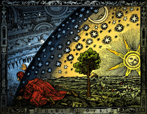 "This is a colorized version of Camille Flammarion's woodcut, L'Atmosphere–Météorologie Populaire, Paris, 1888. Colorization was executed by Hugo Heikenwaelder, 1998. I prefer its Spanish name, ""imagen de la teoría de la eternidad."" This enigmatic woodcut was not done by Flammarion, he allegedly just commissioned and published it. A missionary peers through the curtained firmament of the earth to perceive the mechanisms of the spheres and the phantasmagoria of the universe. The original caption, ""A medieval missionary finds the point where heaven and earth meet,"" is attributed to Voltaire. This file is licensed under the Creative Commons Attribution-Share Alike 2.5 Generic license. https://en.wikipedia.org/wiki/File:Universum.jpg"