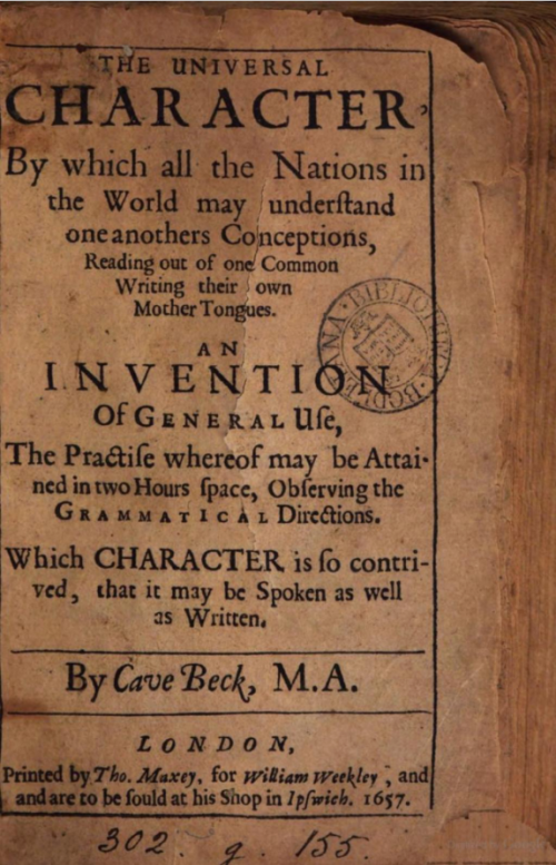 Cave Beck, The Universal Character, London, 1657