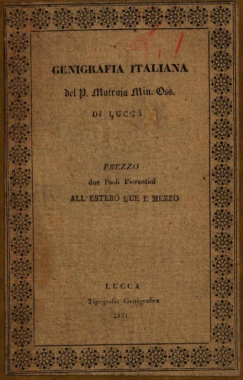 Giovan Giuseppe Matraja, Genigrafia italiana, 1831