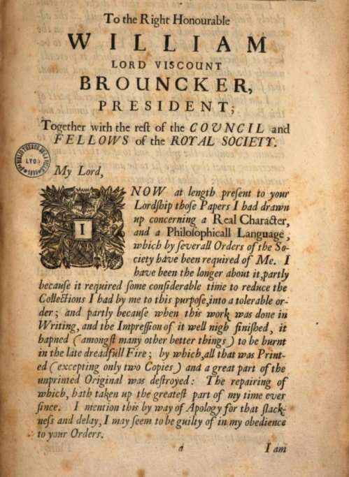 John Wilkins, An Essay towards a Real Character, 1668, p. a from the Epistle