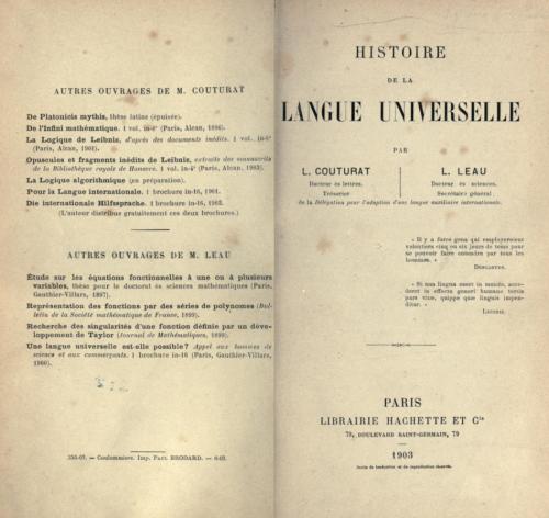 Couturat & Leau, Histoire de la Langue Universelle, 1903