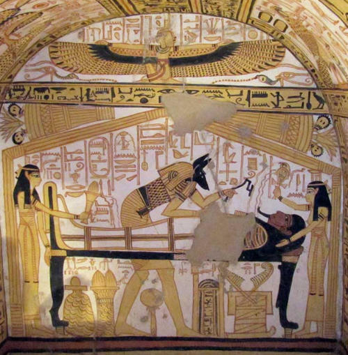 Isis (L) & Nephthys (R), Anubis Ministers to the Deceased, Winged Isis at top 13th century BCE, reign of Ramesses II.png