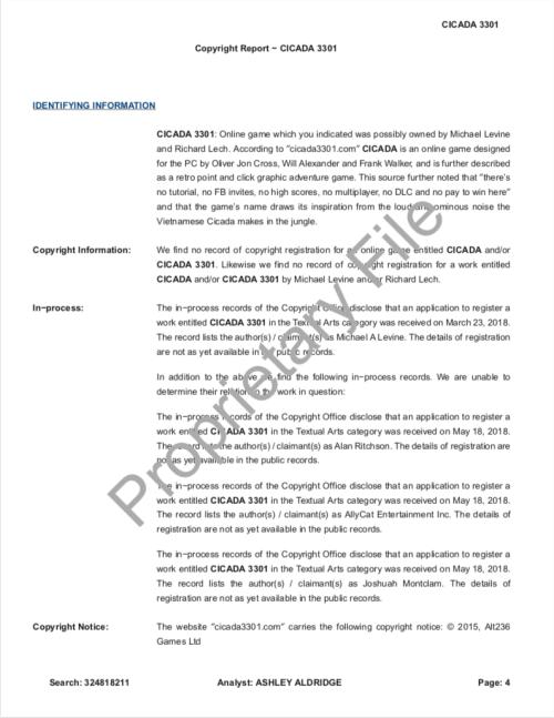 Cicada 3301 Copyright Research Report SONY Levine Lech CompuMark p.4
