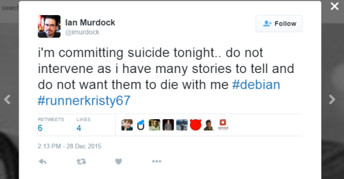 Cicada Ian Murdock Suicide Tweet December 28 2015