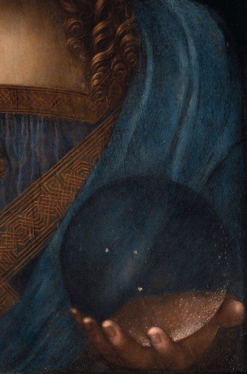 Leonardo Da Vinci Salvator Mundi Detail Left Hand Transparent Orb