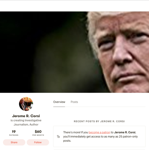 Q Corsi Patreon Splash 19 Patrons $60 a month August 11 2019