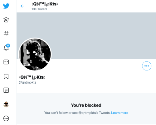 Q qntmpkts blocks me on Twitter--TS?