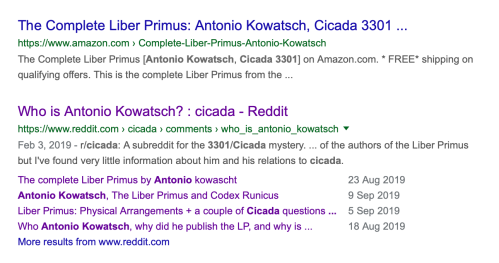Antonio Kowatsch Seller of Liber Primus Physical Book on Amazon Octo 7 2019