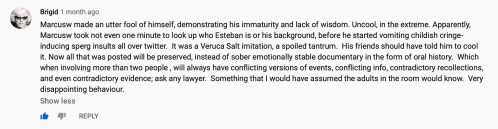 Brigid (@BrigidCovey) YouTube Comment Nails Marcus Wanners Larp Wars, The cicada 3301 history trademark battle heats up, YouTube, Oct 29, 2019