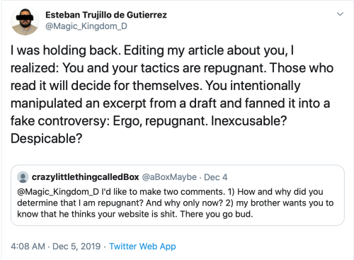 brotherBox v. Me Tweets Repugnant Despicable Inexcusable 2019-12-29
