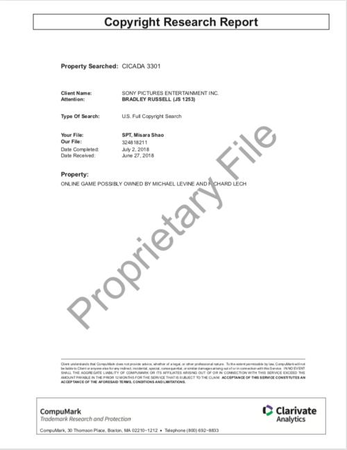Cicada 3301 Copyright Research Report SONY Levine Lech CompuMark p.1